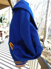 KESSLERS TEAM SPORT dE Long BLUE & YELLOW gold VARSITY WOOL JACKET snap COAT