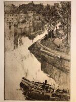 Albert BAERTSOEN gravure eau forte etching un canal à Gand Belgique Péniche