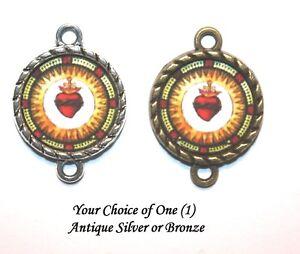 Sacred Heart Vintage Pater Image Bead | Rosary Link | For Rosary or Bracelet