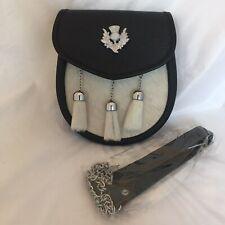 Scottish Made Genuine Sealskin & Leather Full Dress Formal Kilt Sporran new