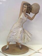 G. SEBELIN Antica Statua donna con palla in ceramica Italy