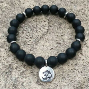 8mm Frosted Obsidian Bracelet Sutra cuff Bless Spirituality Chakas Bead Gemstone