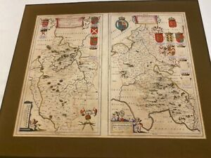 Antique map Bedfordshire an Buckinghamshire .Blaeu. From PRIVATE COLLECTION.Rare