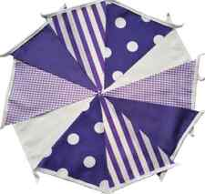 PURPLE Stripes Polka Gingham Fabric Bunting Bundle 20ft/6m Easter Spring Wedding