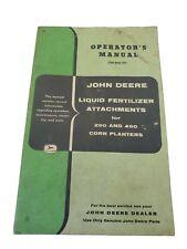 Vtg John Deere Manual Liquid Fertilizer Attachments for 290 & 490 Corn Planters