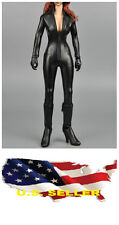 ❶❶1/6 clothes kumik black leather Jumpsuit Black Widow / Catwoman SHIP FROM US❶❶