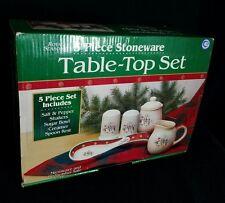 Royal Seasons 5-Piece Stoneware Table-Top Set Snowman Design NIB