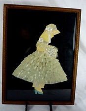Hand Made Antique Silhouette Paper Doll Ribbon Lace Dress Girl Bouquet -Framed