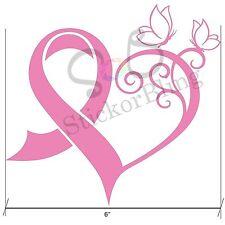 "Breast Cancer Ribbon Heart Butterfly 6"" Vinyl Decal Sticker Truck Car Laptop"