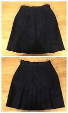 #S34 Anne Klein II Sz 4 100% Wool Black Lined Pleated Back A-Line Skirt