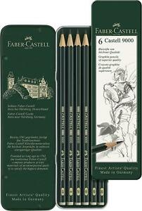 Faber-Castell - Castell 9000 Art Set Pencil (Pack of 6), Green