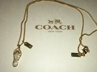 NWT Coach Pave Rhinestone Flip Flop Thong Necklace RARE! CLOSEOUT!!! RETAIL $125