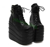 Womens High Ladies Wedge Heel Platform Lace Up Gothic Ankle Boots Punk Shoes Hot