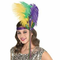 Oyster White Velvet Victorian Mask Mardi Gras Feathers Women/'s Costume Accessory