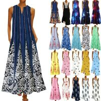 Women Sleeveless Bohemia Long Maxi Dress Summer Beach Party Sundress Plus UK