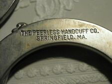 VINTAGE PEERLESS HANDCUFFS WITH 1 KEY AND FREE MODERN POUCH