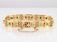Antique Victorian 9Ct 9K Gold And Turquoise Gate Bracelet c 1890's