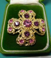 Huge Maltese Cross Pink Purple Rhinestone Gold tone Brooch Filigree Pin 12k 111