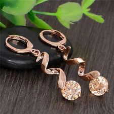 Awesome New 18K Rose Gold Filled Champagne CZ Curl Dangle Drop Hoop Earrings