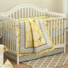 Stella Floral Yellow and Gray Girl Crib Bedding 4 Piece Set by The Peanut Shell
