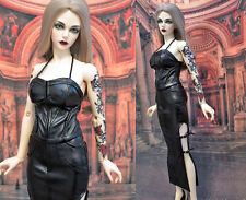 1/3 BJD girl doll outfit SD16 FeePle 65 Iplehouse YID pu leather dress ship US