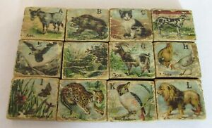 Antique Child's Wooden Alphabet Blocks With Lithographic Animals Complete Set