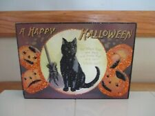 Designs by Kathy Halloween Sign Glitter Vintage Retro Black Cat Witch's Spell!!
