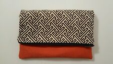 Color Block Clutch Fold Over Handmade Purse Day of The Dead Print Interior