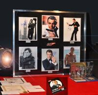 Signed ROGER MOORE 007 Autograph, Connery + all JAMES BOND, COA, Frame UACC, DVD