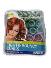 Conair Brush Rollers Short Hair Tight & Bouncy Curlers Curls open box FREE SHIP
