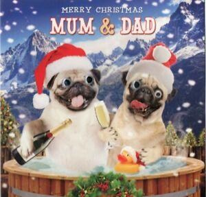 'MUM & DAD' QUALITY CHRISTMAS GREETING CARD BY TRACKS - GOGGLE EYES - FREE P&P