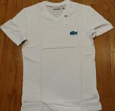 Mens Authentic Lacoste Contrast Croc V-Neck T-Shirt White/Light Blue 3 Small $60