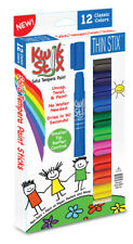 Kwik Stix Thin 12 Primary Colours, No Mess or Water Paint Sticks