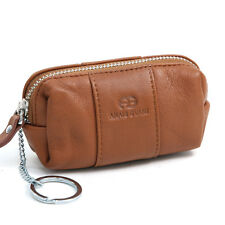 New Anais Gvani Genuine Leather Zip Around Pouch Coin Purse Case Key Chain Brown