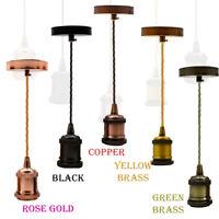 Light Fabric Flex Pendant Lamp Holder Fitting Lighting E27 Screw Ceiling Rose UK