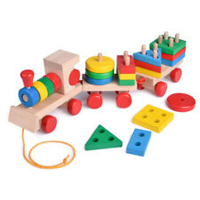Colorful Toys Kids Wooden Pull Along Shapes Train Stacking Building Block Sorter