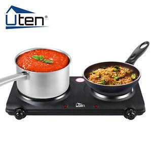 UTEN Portable Electric Hot Plate 2 Hobs Cooker Burner Stove Kitchen Utensil