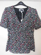 BNWT John Lewis Ladies Woman Pure Silk Blouse Top Size 8 Multicoloured Pattern