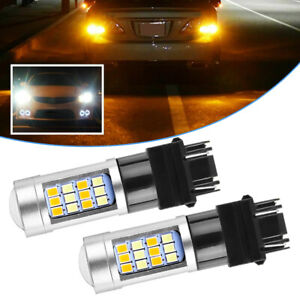 2x 3157 Dual Color White/Amber LED DRL Switchback Turn Signal Parking Light Bulb