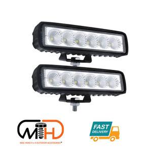 Pair 6 inch Work Lights CREE Spot Flood LED Light Bar Reverse 4WD 12V 24V Spread