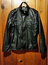 INMUR Fashion Collection Men's Jacket Medium Zip Long Sleeve Black Faux leather