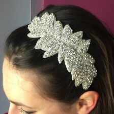 Silver Bridal Headband 1920s Flapper Vintage Gatsby Wedding Headpiece Hairband