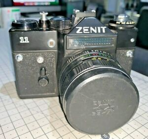 Zenit 11 SLR for 35mm film with Helios 58mm f2 standard lens & case, 1980s