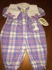 VINTAGE NWT BABY GIRL PLAID ROMPER SZ 6-9m Pink Blue Purple tiny Tots Original
