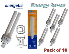 10 x Energetic 13w G24d-1 2 Pin Low Energy CFL Fluorescent Light Bulbs Lamps 2P