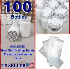 WHOLESALE 100x Empty White Pill Bottle Tablet Capsule Container/Jar/75cc/ml+SEAL