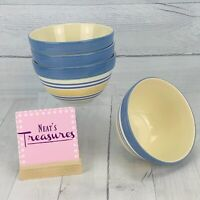 Pfaltzgraff SUMMER BREEZE Blue Yellow Green Strips Large Soup Cereal Bowls Set 4