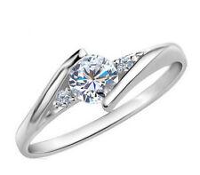 Silver Plated Solitaire Twist Zirconia Wedding Engagement Bridal Rhinestone Ring
