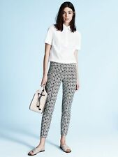 "$250 NWT TORY BURCH ""CALLIE"" CROPPED JACQUARD ANKLE PANTS IN  IVORY/BLACK SZ 2"