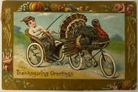 Postcard Thanksgiving Boy In Buggy Turkey On Bike Anthropomorphic Posted